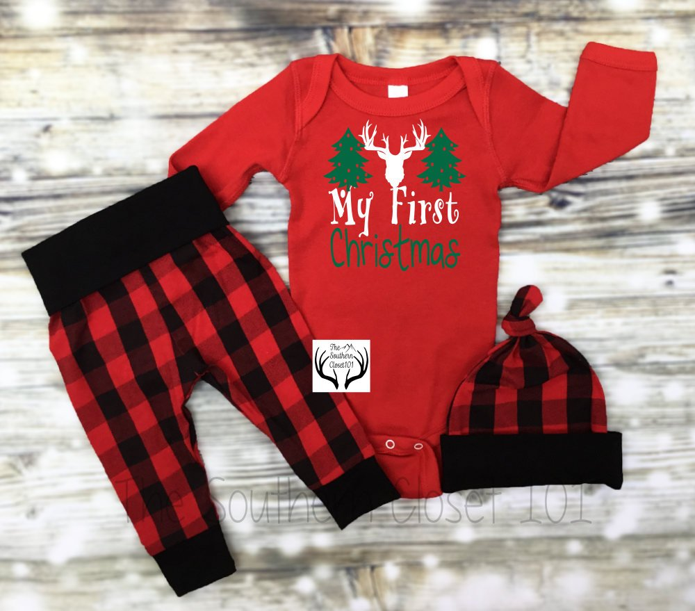 38e100bb03283 Baby Boys Christmas Outfit,My First Christmas,Newborn Boy Coming Home  Outfit, Buffalo Plaid, Red, Black,Baby Boy,Boy Coming Home Outfit,Boys