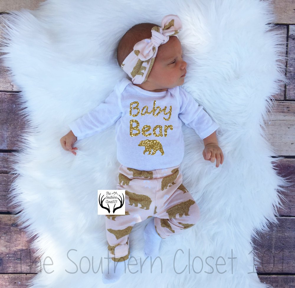 0c064dc5280d3 Bear Outfit, Baby Girl,Baby Girl Coming Home Outfit,Baby,Newborn Girl ...