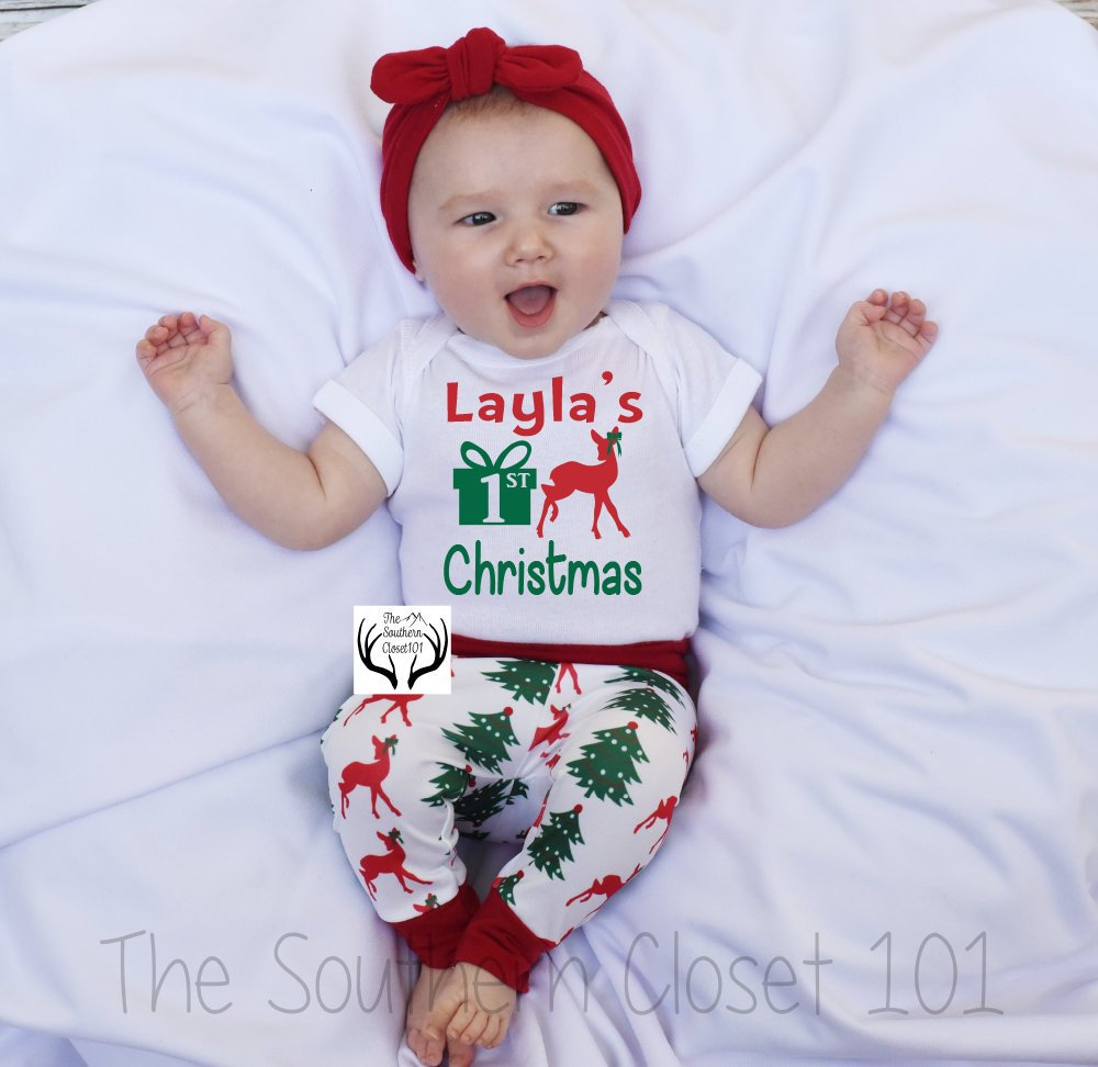 81335c8b682f1 Baby Girl Christmas Outfit,Baby Christmas Outfit, Girl Coming home outfit,Girls  Christmas ...