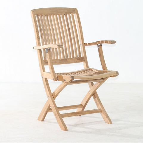 Cambria Folding Arm Chair & Outdoor Teak Chairs | Classic Teak Furniture
