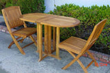 Teak Table Oval Drop Leaf Set