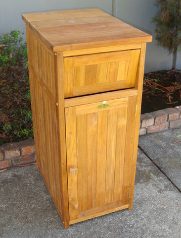 Teak Trash Receptacle