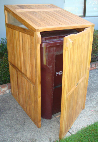 Teak Trash Can Box
