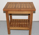 Teak Checkerboard Shower Bench