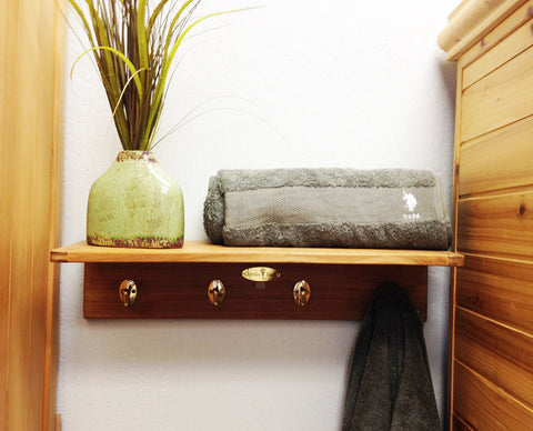 Teak Wall Towel Rack
