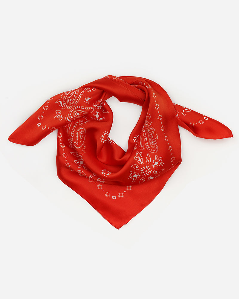 The Western  -  Red | Square Silk Scarf Bandana