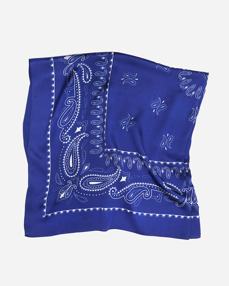 Manner Market 100% Silk Scarf - Western Blue XL 40x40