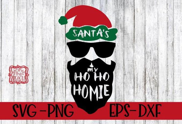 Santa's Ho Ho Homie homeboy svg - Digital Download - Santa Face svg - Christmas Cut File - santa beard - vector file - santa cutting file