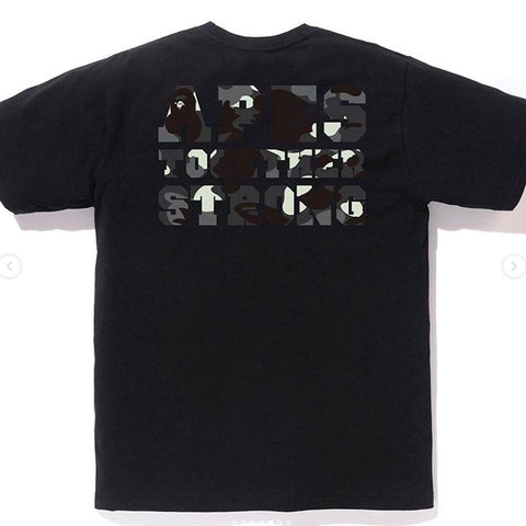 BATHING APE City College ATS Tee Black with Black Print (Glow in the Dark)