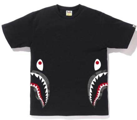 BATHING APE Color Camo Shark Tee Black