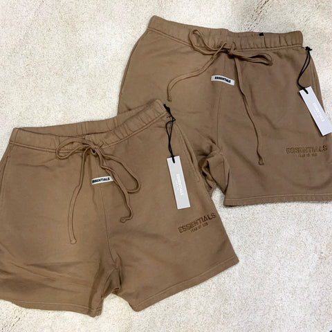 FEAR OF GOD Essentials Embroidery Logo Shorts Brown