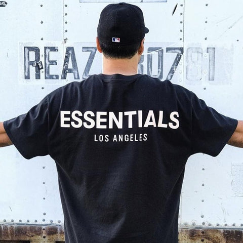 FEAR OF GOD Essentials Reflective Logo Los Angeles Tee Black (Exclusive)
