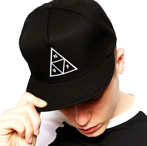 HUF Essentials Triple Triangle Snap Back Hat Black