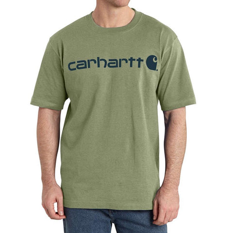 Carhartt USA Signature Logo Tee Oil Green Heather