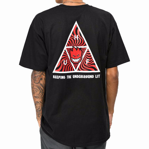 HUF x Spitfire Triple Triangle Tee Black