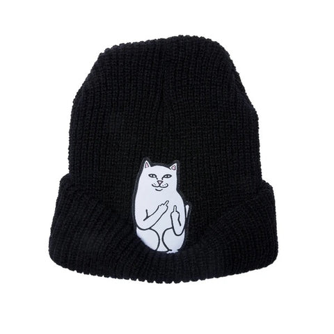 RIPNDIP Lord Nermal Ribbed Beanie Black