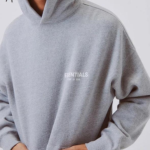 FEAR OF GOD Essentials Logo Hoodie Grey