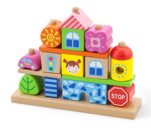 Wooden Stacking Blocks - City - Sweet Pea Kids