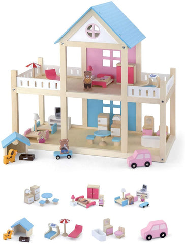 Wooden Dollhouse + Bear Family & Furniture