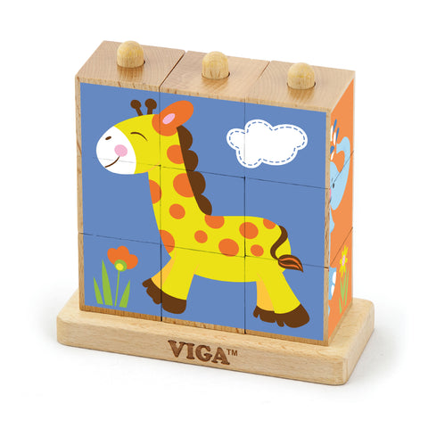 Stacking Cube Puzzle - Wild Animals - Sweet Pea Kids