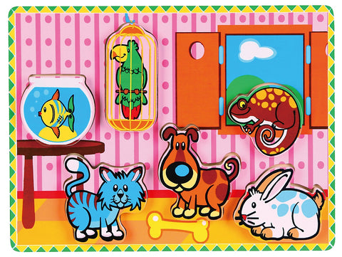 Viga - Extra-thick Wooden Puzzle - Pets - Sweet Pea Kids