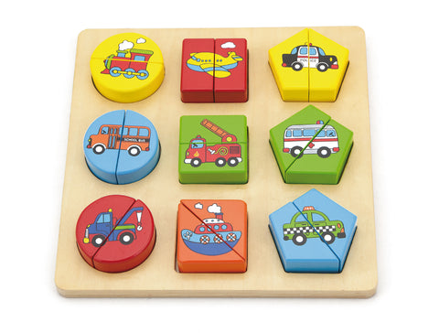 Viga - Shape Block Puzzle - Vehicles - Sweet Pea Kids