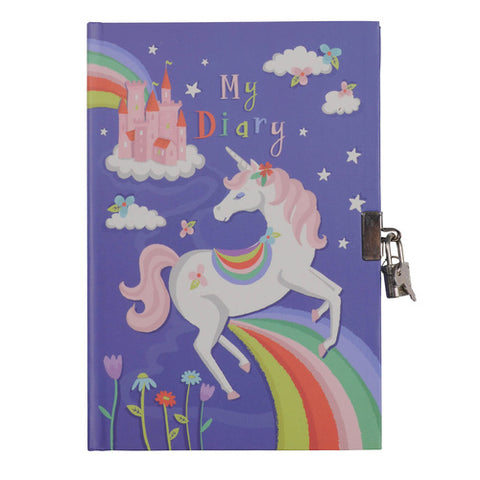 Lockable Diary - Unicorn Rainbows - Sweet Pea Kids
