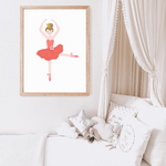 Sweet Pea - Red Floral Ballerina  Wall Art Print - Sweet Pea Kids