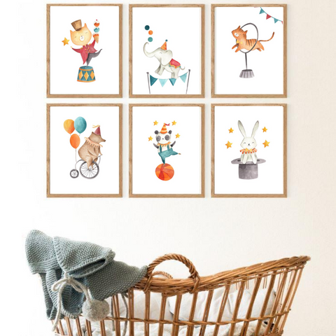 Sweet Pea - Set of 6 Circus Animals Watercolour  Wall Art Prints - Sweet Pea Kids