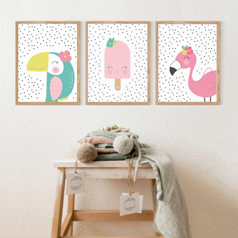 Sweet Pea - Set of 3  - Toucan & Flamingo Wall Art Prints - Sweet Pea Kids
