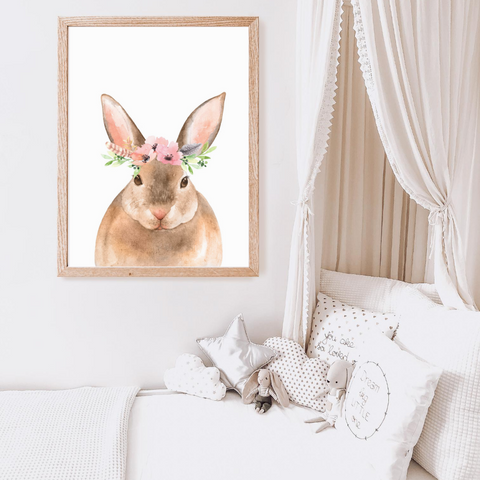 Sweet Pea - Floral Watercolour Bunny  Wall Art Print - Sweet Pea Kids