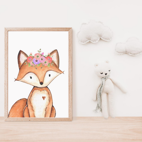Sweet Pea - Fox Watercolour  Wall Art Print - Sweet Pea Kids