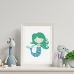 Sweet Pea - Green Mermaid  Wall Art Print - Sweet Pea Kids