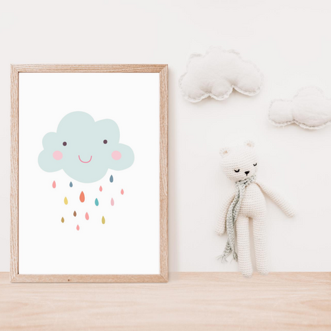 Sweet Pea - Smiley Cloud  Wall Art Print - Sweet Pea Kids