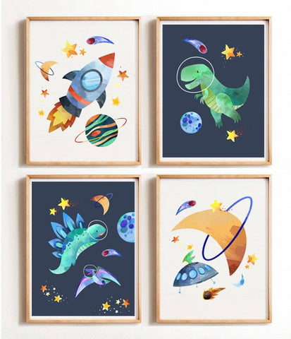 Sweet Pea - Set of 4 Dinosaur Space  Wall Art Prints - Sweet Pea Kids