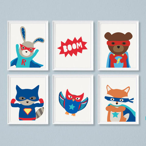 Sweet Pea - Set of 6 Superhero  Wall Art Prints - Sweet Pea Kids
