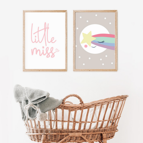 Sweet Pea - Set of 2 - Little Miss & Sleepy Moon Star  Wall Art Prints - Sweet Pea Kids