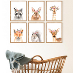 Sweet Pea - Set of 6  - Watercolour Woodland Animals  Wall Art Prints - Sweet Pea Kids