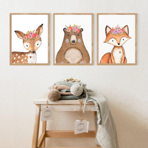 Sweet Pea - Set of 3 - Woodland Watercolour Animals - Sweet Pea Kids