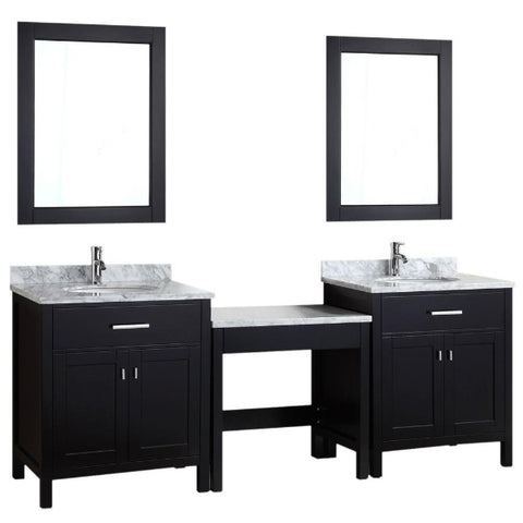 "2 London 30"" Espresso Transitional Single Sink Vanity Set w/ 1 Make-up Table"