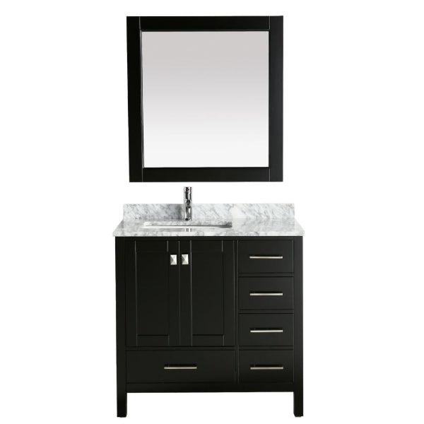 "Design Element London 36"" Espresso Transitional Vanity w/ Marble Top and Mirror"