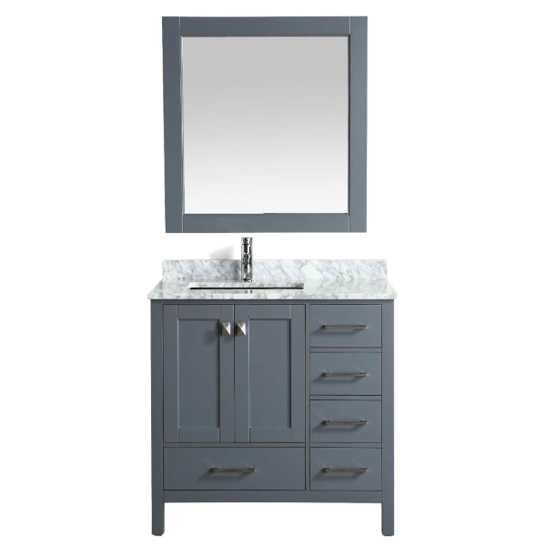 "Design Element London 36"" Gray Transitional Vanity w/ Marble Top and Mirror"