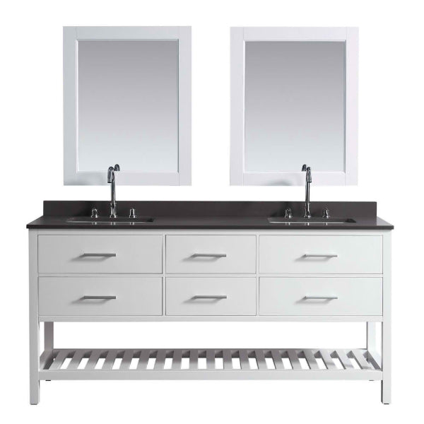 London 72″ White Modern Double Sink Vanity Set w/ Gray Quartz Top