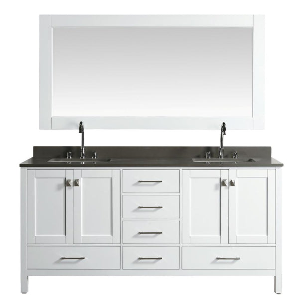 "Design Element London 72"" White Transitional Vanity With Quartz Top"