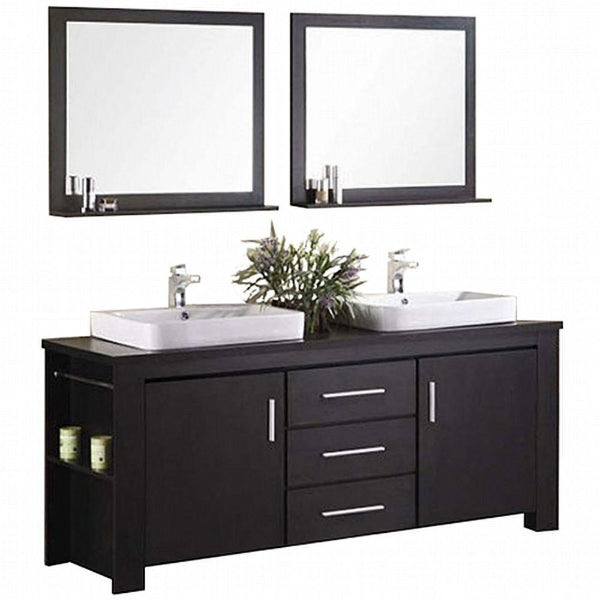 "Washington 72"" Espresso Modern Double Sink Vanity Set"
