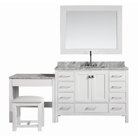 "London 48"" White Transitional Single Sink Vanity Set w/ 1 Make-up Table"