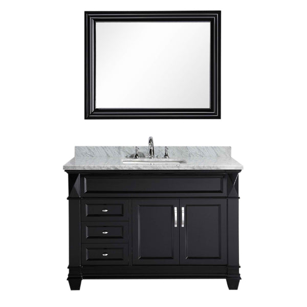 Design Element Hudson 48″ Espresso Transitional Single Sink Vanity w/ White Carrara Marble Top