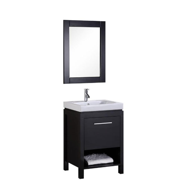 "New York 24"" Espresso Modern Single Sink Vanity Set"