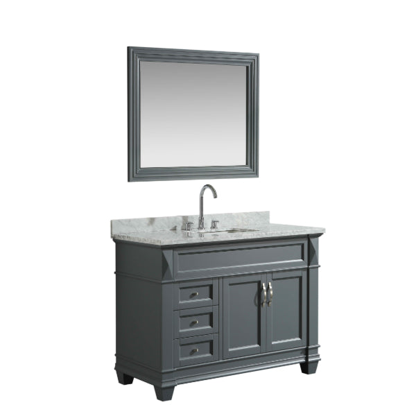 Design Element Hudson 48″ Gray Transitional Single Sink Vanity w/ White Carrara Marble Top