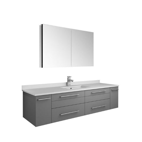 "Lucera 60"" Gray Modern Wall Hung Undermount Sink Vanity w/ Medicine Cabinet"